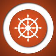 Nautical wheel icon. Internet button on white background. . - stock illustration