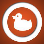 Duck icon. Internet button on white background. . - stock illustration