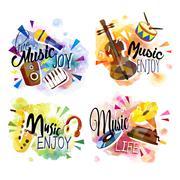 music concept set - stock illustration