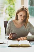 Morning Bible Study at Home - stock photo