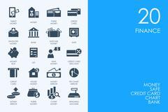 Set of BLUE HAMSTER Library finance icons - stock illustration