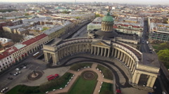 Aerial view of Kazansky cathedral in Saint-Petersburg Stock Footage