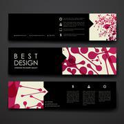 Set of modern design banner template in DNA molecule style Stock Illustration