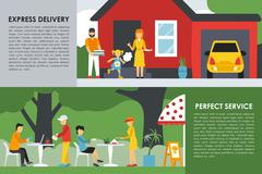Express Delivery and Perfect Service flat concept web vector illustration Stock Illustration