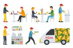 Pizzeria icons set. People in a flat interior. Cashier, Deliveryman, Customers Stock Illustration
