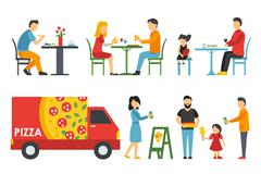 People in a flat interior. Pizza icons set. Cashier, Deliveryman, Customers Stock Illustration