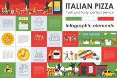Italian Pizza infographic elements. Flat  concept web vector illustration Stock Illustration