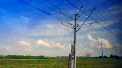 4K View from Fast Moving Train, Window POV Blurred Landscape and Train Stock Footage