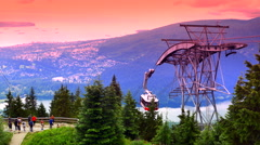 4K Vancouver BC Mountain View, Grouse Mountain Gondola, BC Canada Stock Footage