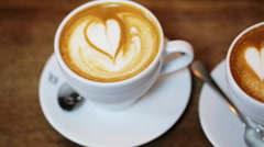 39. two cups of coffee cappuccino - stock footage