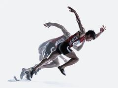 Japanese male athlete running - stock photo