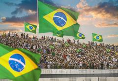 Illustration of Brazilian fans in a stadium - stock photo