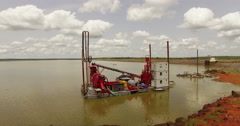 Platform for gold mining in Mali, Africa, on a lake. Aerial N. Stock Footage