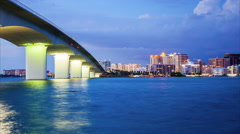 Sarasota, Florida Skyline Day to Night -Time Lapse Stock Footage