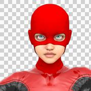 One girl teenager wearing a red super black latex suit Stock Illustration