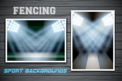 Set Backgrounds of fencing arena and stadium - stock illustration