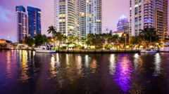 Fort Lauderdale, Florida Skyline at Night on New River - Time Lapse Stock Footage