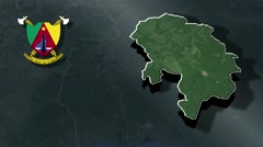 Centre with Coat Of Arms Animation Map Stock Footage
