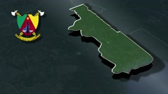 South with Coat Of Arms Animation Map Stock Footage