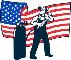 Welder Standing Visor Up USA Flag Wavy Retro Stock Illustration