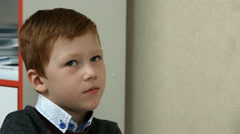 Six-year-old boy in class Stock Footage