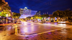 Bars and Nightlife on Himmarshee Street in Fort Lauderdale, Florida - Time Lapse Stock Footage