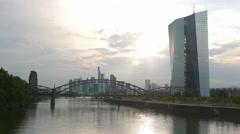 Timelapse 4K Skyline Frankfurt am Main Financial Center EZB ECB Germany Europe Stock Footage