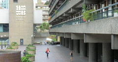 Brutalist architecture of The Barbican Centre, City of London, UK Stock Footage