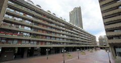 The Barbican Estate, City of London, UK; tracker dolly reveal Stock Footage