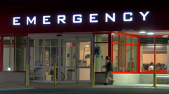 4K Emergency Waiting Room Area, Lit Sign at Hospital at Night Arkistovideo