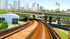 4K Skytrain Train Tracks POV Transit Under Bridge Vancouver Stock Footage