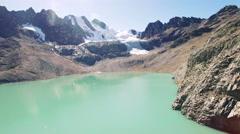 4K aerial view mountain glacier lake bolivia pico austria Stock Footage