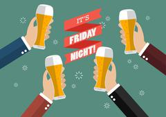 Friday Night Party celebration Stock Illustration