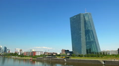 4K Skyline Frankfurt am Main Financial Center EZB ECB Germany Europe Stock Footage