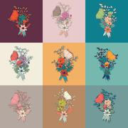 Vector flower bouquet, collection, botanical and floral decoration hand drawn Stock Illustration
