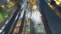 BARCELONA : La Sagrada Familia Cathedral in Barcelona, Gaudi temple Stock Footage