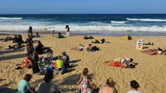 Australia Sydney Manly Beach crowd Stock Footage