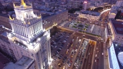 Stalinist high rise building at Mayakovskaya square in Moscow. Beautiful night i Stock Footage