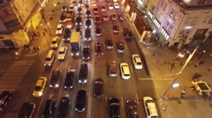 Sadovoe ring evening road traffic. Center of Moscow night illumination. Aerial. Stock Footage