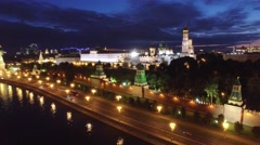 Best unique night flight close to Moscow Kremlin and Red Square. Evening.  Stock Footage