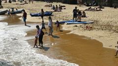 Australia Sydney Manly Bay Beach with kids Stock Footage