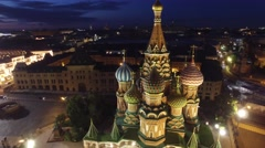 Saint Basil's Cathedral flight around. Best unique night flight close to Kremlin Stock Footage