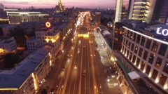 Sadovoe ring evening road traffic. Center of Moscow night illumination.  Stock Footage