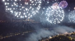 Great firework show in Moscow Russia near MSU Moscow State University. Stock Footage