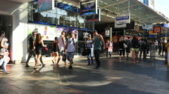 Australia Sydney Manly sidewalk with people Stock Footage