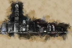 Hong Kong Island with scyscrapes illuminated by night Stock Illustration