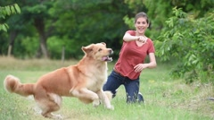 Woman playing with throwing ball to dog Stock Footage