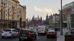 Moscow, view from Tverskaya street toward Kremlin. Stock Footage