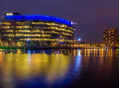 Salford Quays, Salford, Manchester, Gtr Manchster, UK. August 1st 2016. Night - stock photo