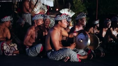 Drummers at Bali Kecak Dance Performance Stock Footage